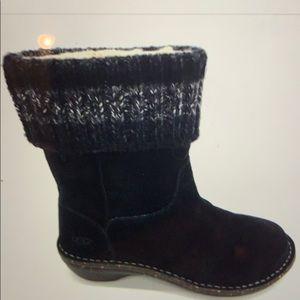 Ugg Kaylana Black Boots Sweater Cuff 7